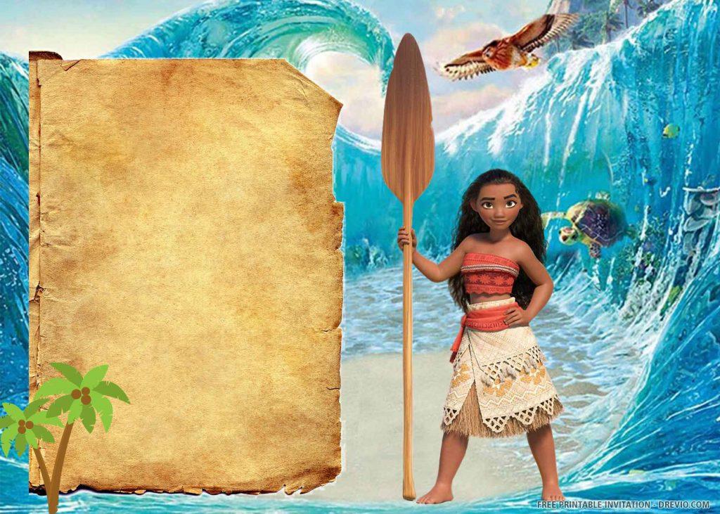 FREE MOANA Invitation with Moana, Paddle, and Friends