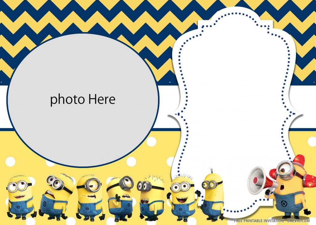 FREE MINION Invitation with eight minions and photo space