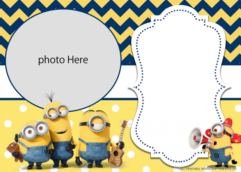 FREE MINION Invitation with four minions, guitar, doll, megaphone, and photo space