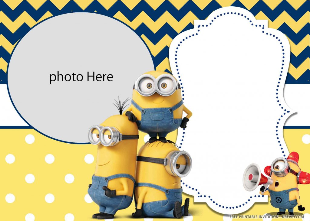 FREE MINION Invitation with four minions and photo space