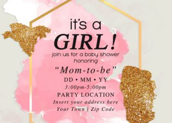 Free Gold Glitter Girl Baby Shower Invitation Templates For Word