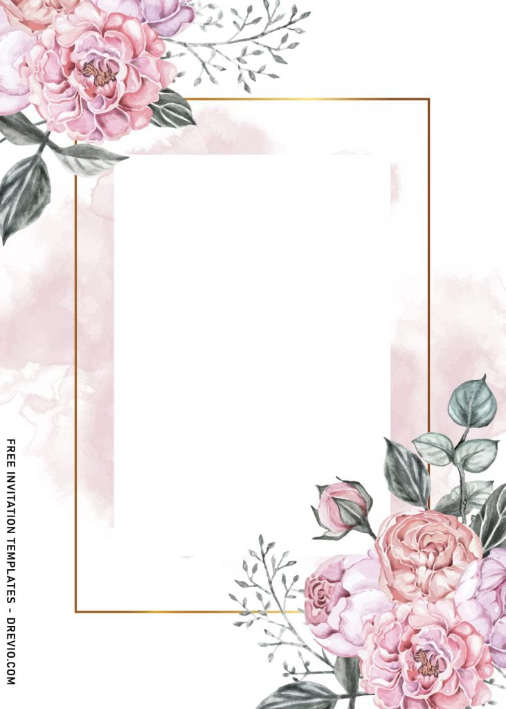 9+ Vintage Watercolor Roses Wedding Invitation Templates and has dusty roses