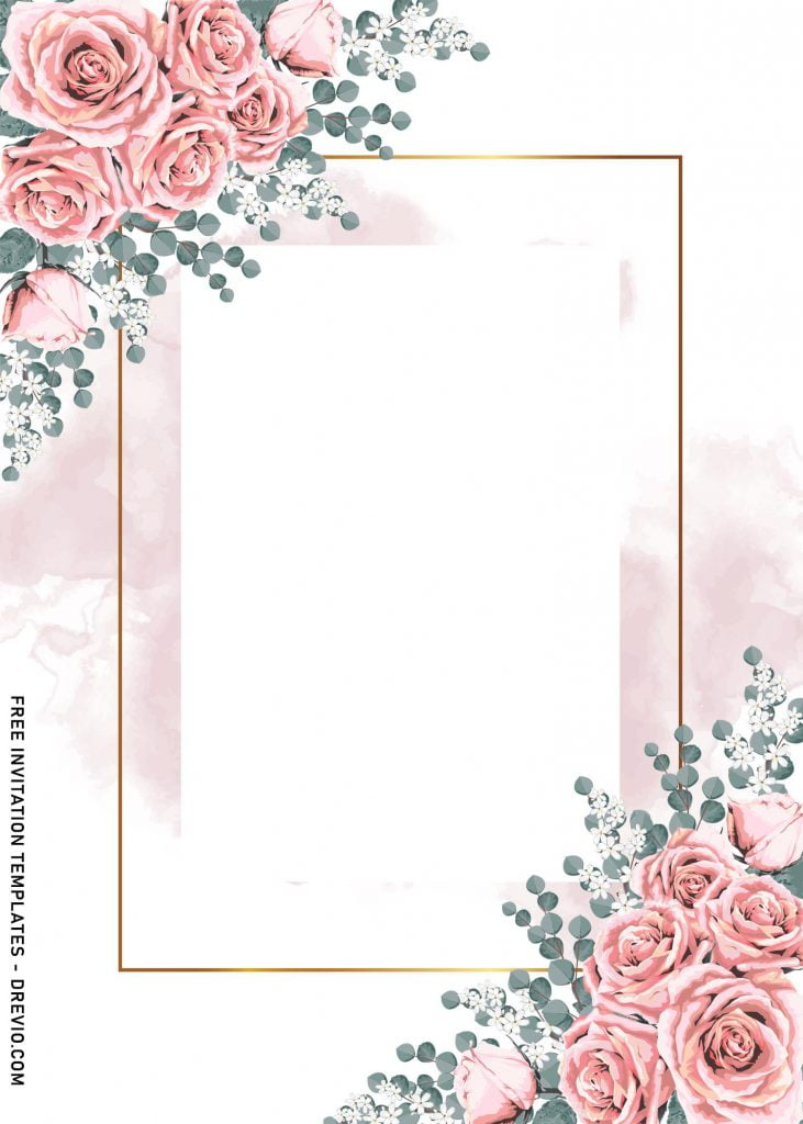9+ Vintage Watercolor Roses Wedding Invitation Templates and has stunning text frame