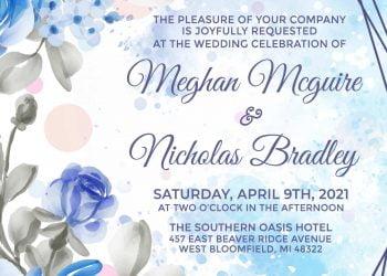 7+ Enchanting Blue Floral Geometric Wedding Invitation Templates
