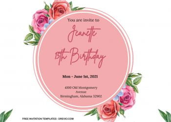 7+ Watercolor Roses Round Floral Invitation Templates