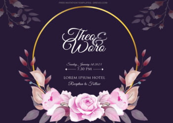 7+ Golden Purple Roses Floral Invitation Template