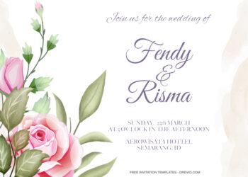 8+ Beautiful Watercolor Roses Floral invitation Templates