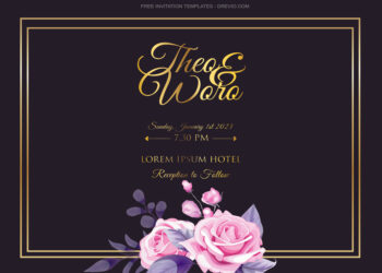 10+ Golden Square Roses Floral Invitation Template