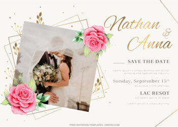 8+ Watercolor Roses With Photo Frame Invitation Template