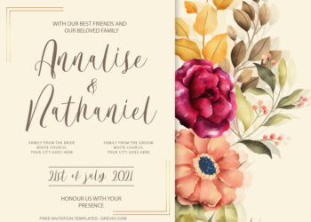 12+ Summer Breeze Peonies Floral Invitation Template