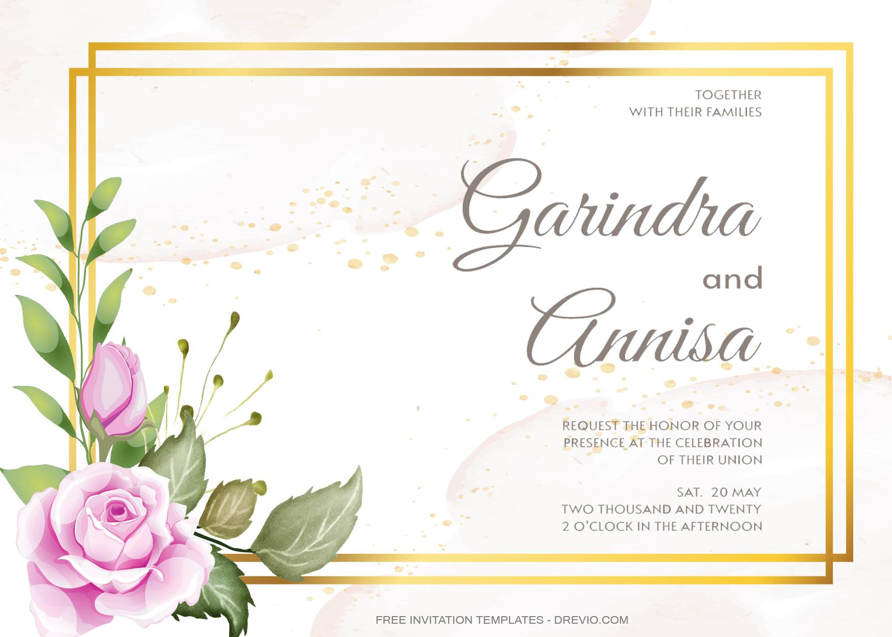 8+ Beautiful Pinkish Roses Floral Invitation Templates