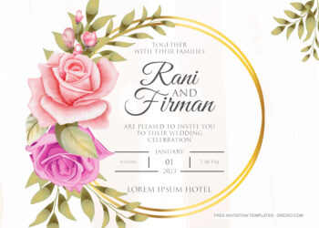 8+ Golden Circle Roses Floral Invitation Template
