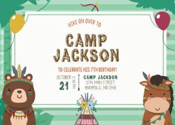 7+ Boho Forest Animals Camp Birthday Invitation Templates Title