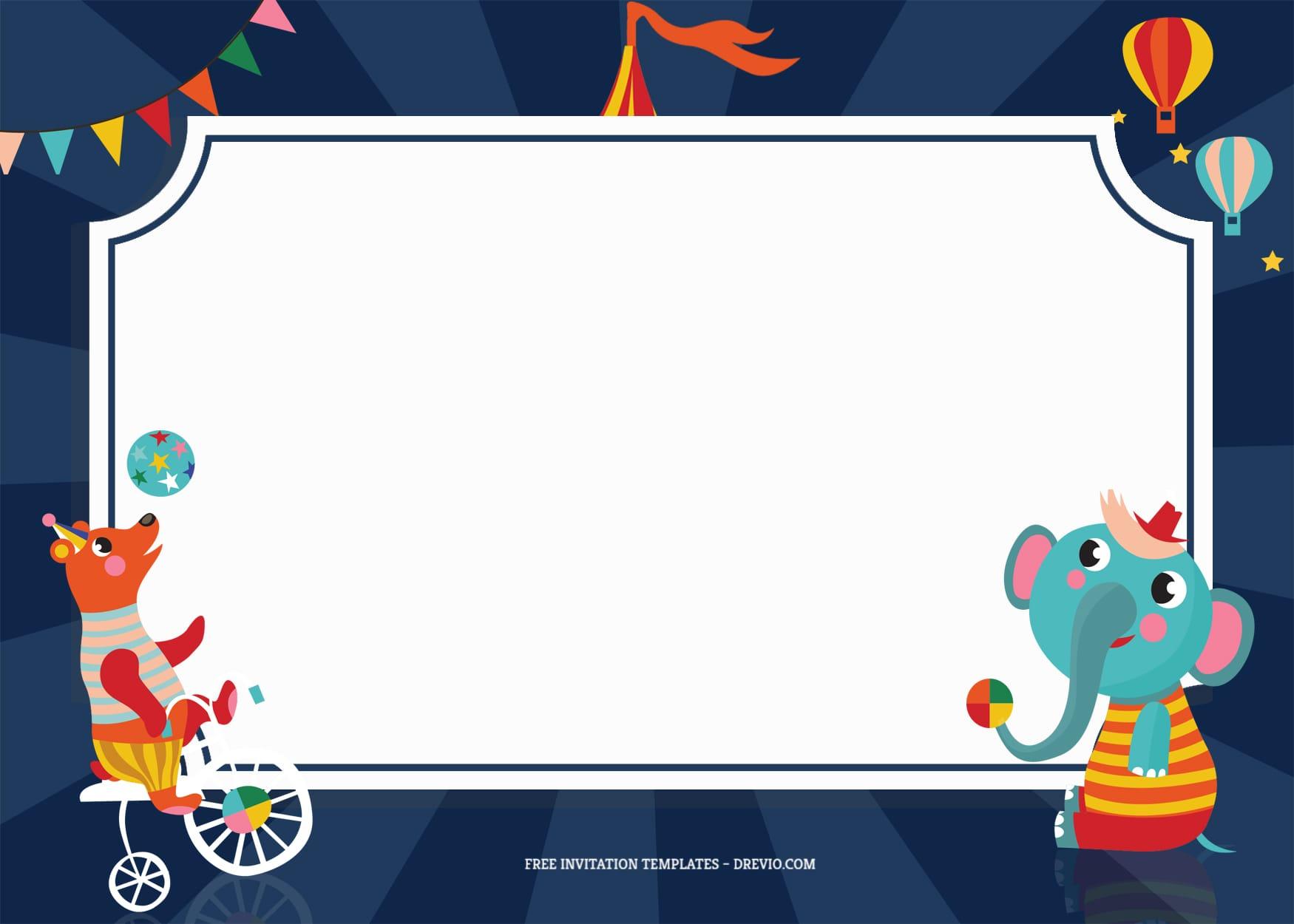 7+ Festive Carnival Party Birthday Invitation Templates With Bear And Elephant