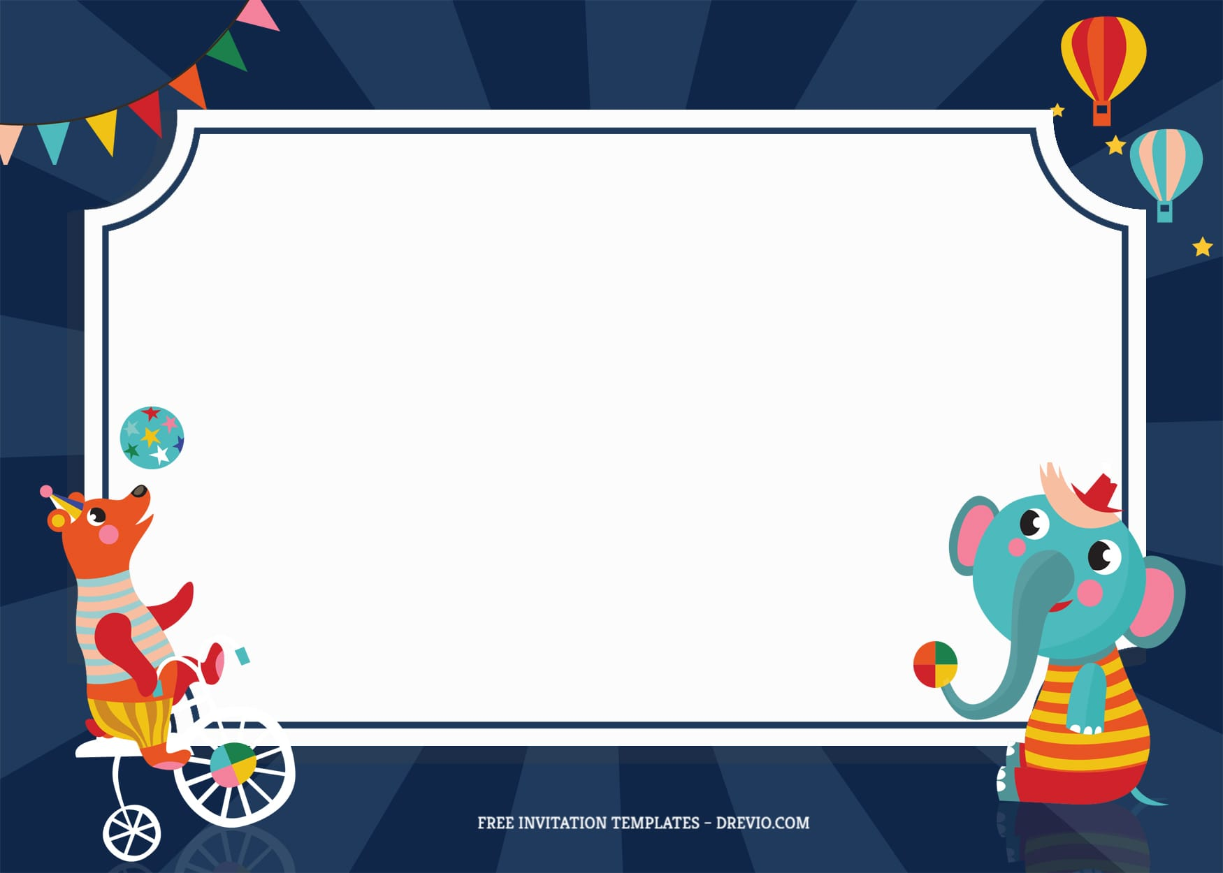7+ Festive Carnival Party Birthday Invitation Templates With Elephant And Bear