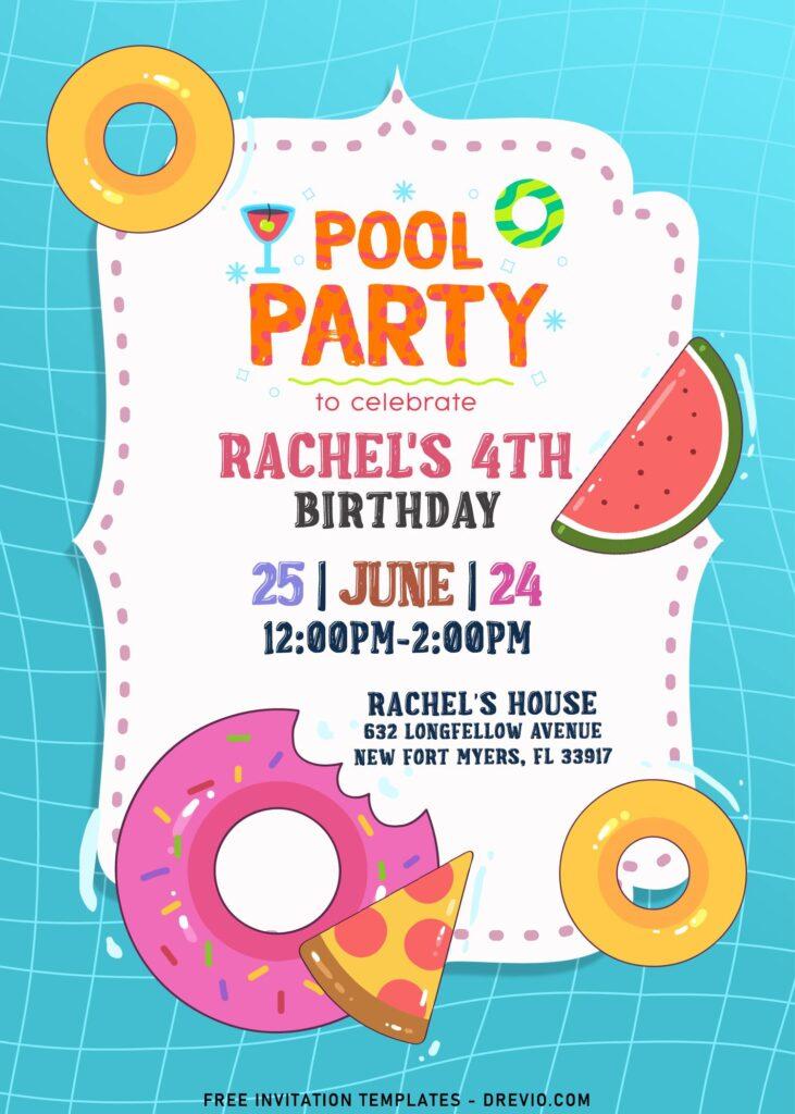 7+ Fun Summer Pool Kids Birthday Invitation Templates