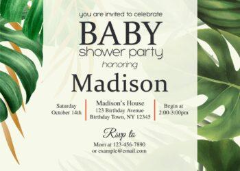 8+ Elegant Monstera Greenery Themed Birthday Invitation Templates