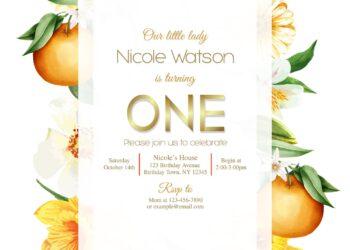 8+ Botanical Orange Blossom Floral Birthday Invitation Templates