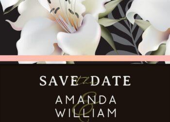9+ Modern Lily Flower Wedding Invitation Templates