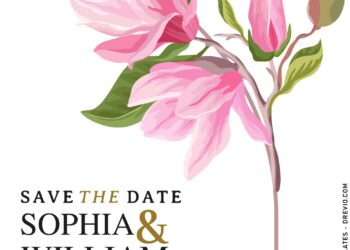 9+ Modern Magnolia Arch Floral Wedding Invitation Templates