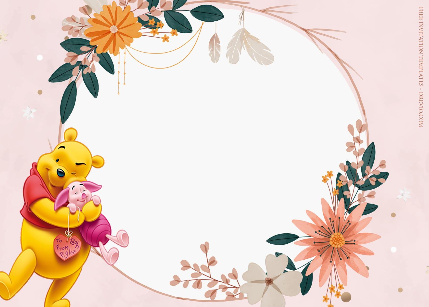 11+ Piglet And Winnie Sweet Floral Birthday Invitation Templates Type Nine