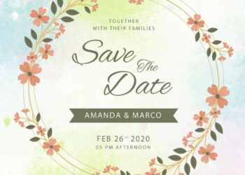 8+ Vivid Floral Wreath And Frame Save The Date Invitation Templates